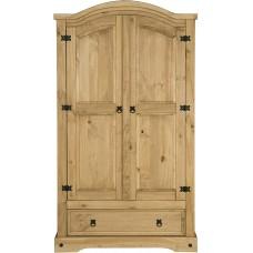 Solid Natural Pine Wood Wardrobe 2 Doors Open Kitchen Bedroom H 186 x 102 cm