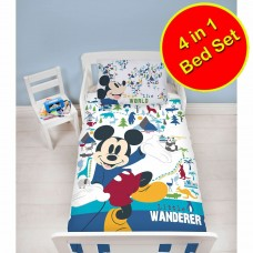 Toddler Cot Bed Duvet Set 4 Pieces Mickey Mouse