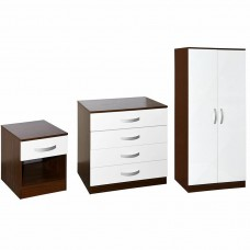Trio Bedroom Furniture Set 3 Piece Wardrobe Bedside Cabinet Chest of Drawers