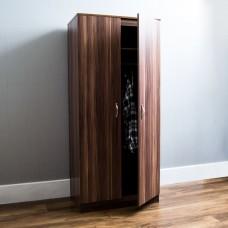 Walnut Wardrobe 2 Door Chest Hanging Rail Home Bedroom Furniture Storage