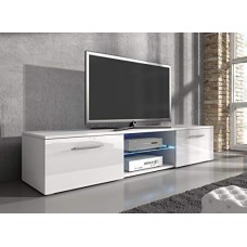 White High Gloss Front Slim Low Rise Tv Stand MDF Led Light Sizes up to 70 inches