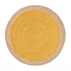 Yellow Natural Handmade Jute Rug Reversible Floor Carpet Round Home Decor