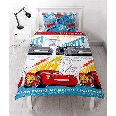 Kids Disney Cars Movie Single Junior Duvet Cover Pillowcase Reversible Set