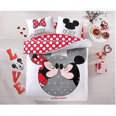 Minnie & Mickey Duvet Bedding Set Queen Size 4 Pieces Disney Cover Cotton