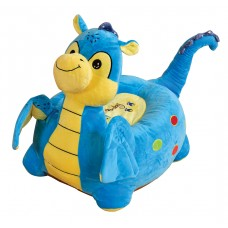 Children Plush Riding Chair Toddler Comfy Sofa Dragon Blue