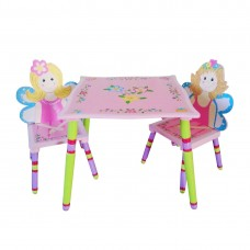 Girls Table with 2 Chairs Set Kids Bedroom Furniture for Playing Drawing