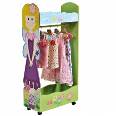 Girls Dress Up Storage Center Clothes Organizer  with Child-safe Mirror & Wheels