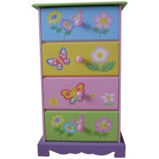 Butterfly Wooden 4 Drawer Storage Kids Unit Box Bedroom Girl Children Organiser