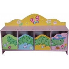 Caterpillar Kids 4 Doors Cabinet Bench Children Bedroom Furniture Cupboard