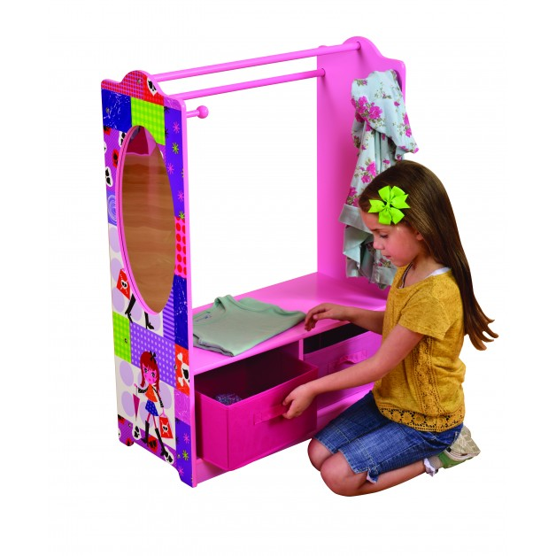 GIRL DRESS UP WITH STORAGE BINS AND MIRROR