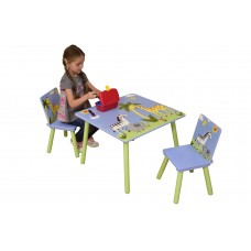 Modern Kids Safari Table with 2 Chairs Set Children Playroom Bedroom Stylish Furniture