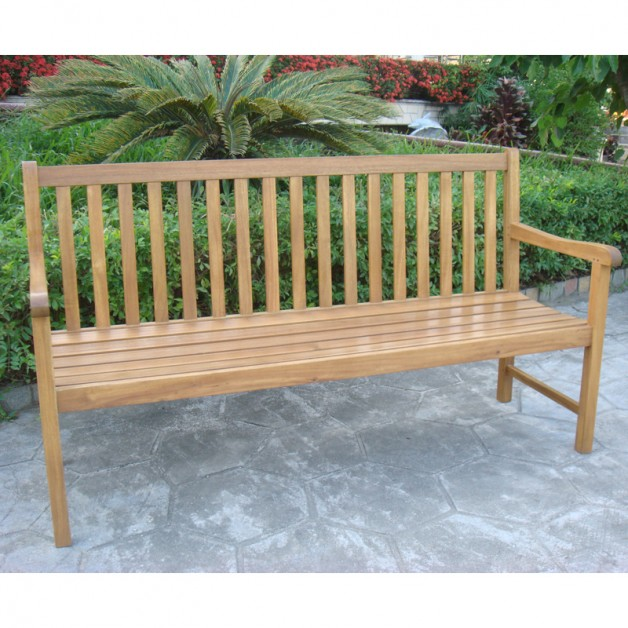 Contemporary Solid Acacia Wood Bench 3-4 Seater