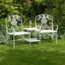 Garden Steel Duo Seat & Table Set Amelia Lucia Outdoor Furniture Chairs Patio Bistro Set