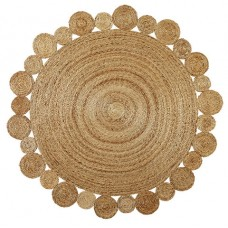 Reversible Natural Handmade Jute Round Rug Braided Indian Decor Floor Carpet